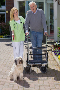 Private pay patient and dog receive nursing assistant's help on a walk.