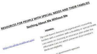 Listing of resources for people with special needs and their families