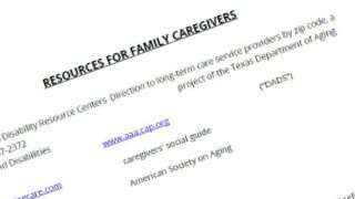 List of resources to help family caregivers of seniors