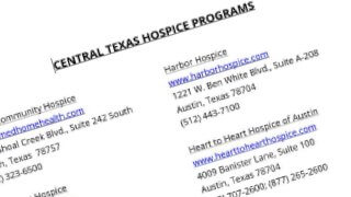 List of Hospice programs in Central Texas