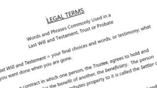 Legal terms used for Wills, Trusts and Estate Planning