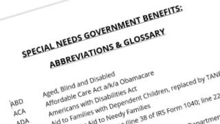 A listing of government benefits abbreviations for people with special needs