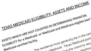Listing of Texas Medicaid Eligibility: Assets and Income